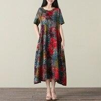 Cotton Linen Dress Summer Women 2017 Plsu Size Fabric Dress Linen Brand Robe Longue Femme Maxi