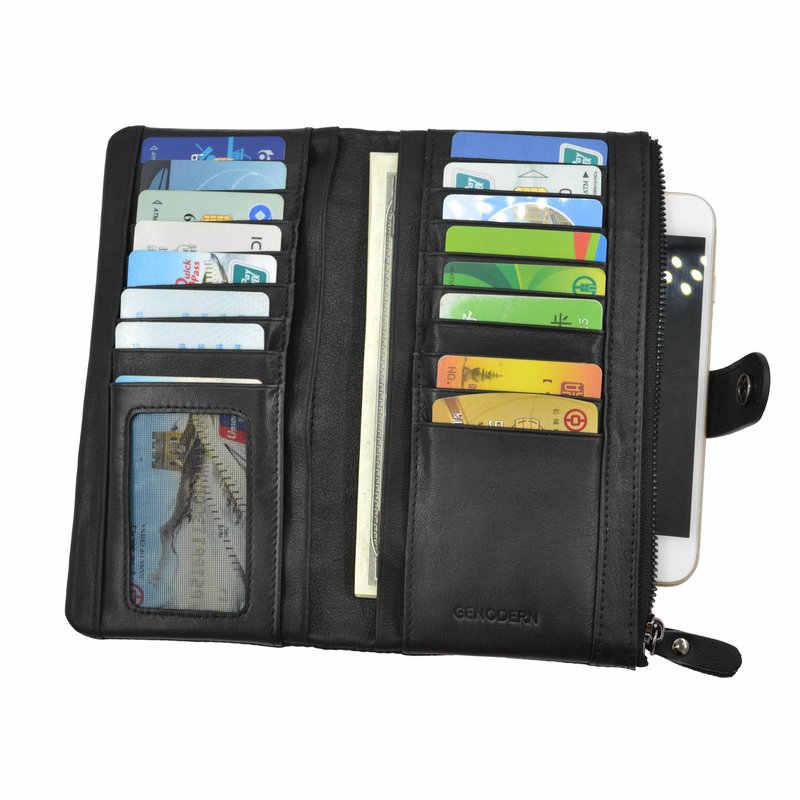 Genodern Бизнес длинные мужской кошелек с несколькими держателей карт телефона из коровьей кожи Бизнес Для Мужчин's Женские Кошельки черный длинный кошелек для мужчин