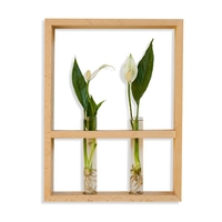 Japan Style Creative Living Room Vase Wall Decorative Metope Simple Flowers Hang Walnut Plant Flowerpot Solid Wood Frame