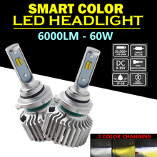 Pair 60W 6000LM 9005 9012 H1 H11 H7 H4 Hi/Lo Beam Car LED Headlight Bulb 3 Color Changing Yellow White 3000K 6000K Auto Lights