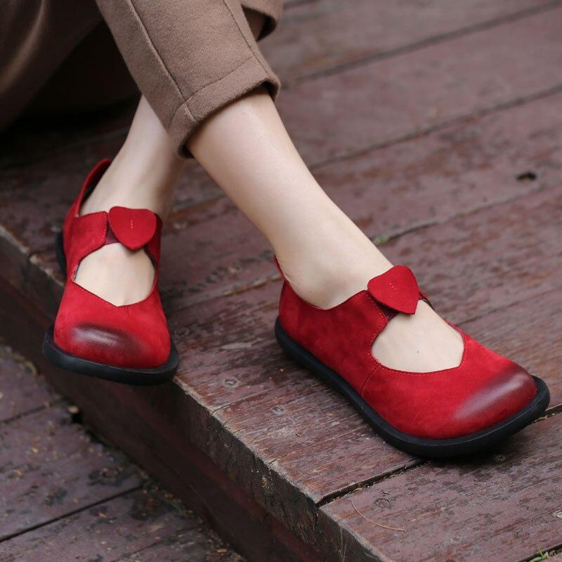 2018 אביב בעבודת יד בציר נשים דירות פרה זמש עור עגול הבהונות נוח נעלי נשים אדום שחור קפה