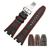 28 мм 1 шт. мужские черный коричневый картины крокодила натуральная кожа часы ремень браслеты роуз Depolyment застежка