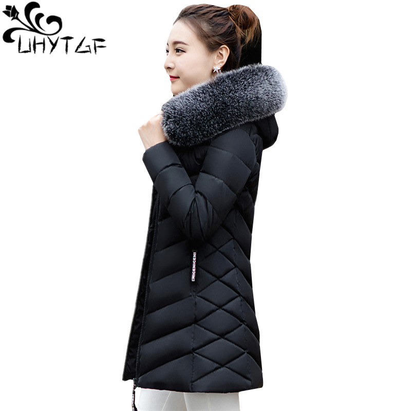 UHYTGF M-3XL long   parka   Women Big fur collar Hooded Down Jacket Warm Winter Coat Slim Thicken Parker Cotton Outerwear Ladie1010