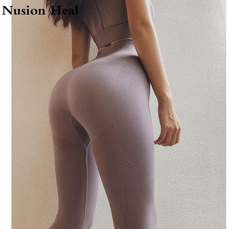 Solide Butin Haut Taille Haute Ventre Contrôle Collants Leggins Femmes Sans Couture Jambières de Sport Pour Vêtements De Sport Femme Gym Yoga Pantalon