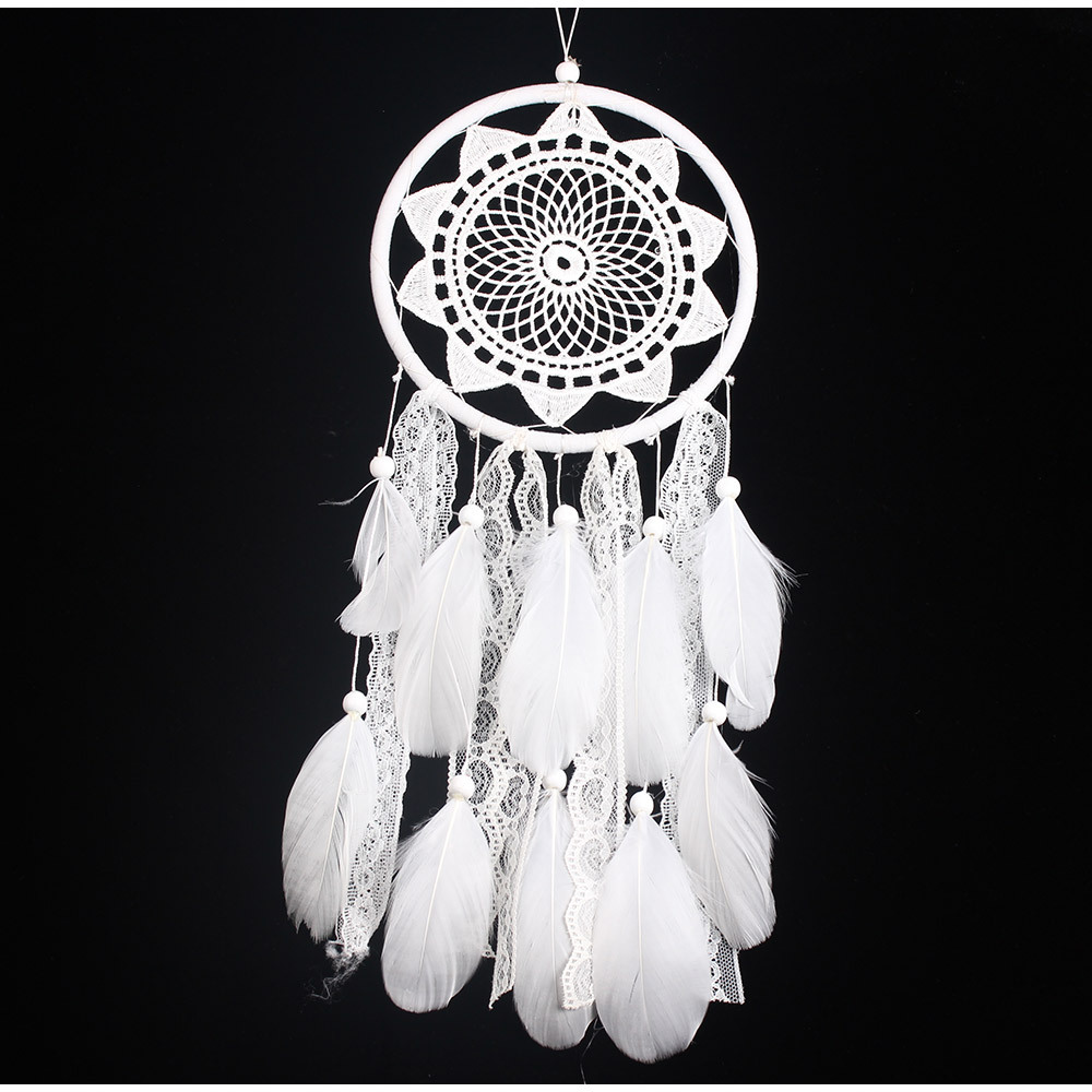 2018 hot sales dreamcatcher hanging wedding feather lace wreath Fantasy dream for wedding  decoration and home decoration