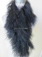 100% Real Mongolia Lamb Whole skin fur Scarf /cape/black