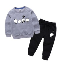 New Boys Clothing Sets Spring Autumn Baby Kids Sets Cotton Panda pattern Boy Tracksuits Kids Suits Long Sleeve T Shirt+Pants new spring style long sleeve striped bears cotton straps t shirt pantsuits boy baby spring clothing free shipping