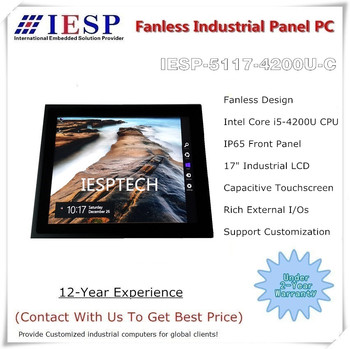 17 inch Industrial Fanless Panel PC, Capacitive Touchscreen, i5-4200U CPU, 4G DDR3, 500GB HDD, industrial 17 inch HMI