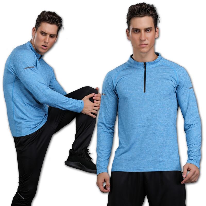 Gym Long Sleeve Mens Quick Dry Running Long Sleeve Shirt Jogging Fitness Training Bike Cycling Jersey Outdoor T-Shirt Men Sports