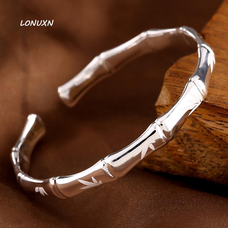 Женский модный изящный Открытый 100% 999 серебряный модный браслет браслеты с бамбуковым принтом знаменитый браслет, женская бижутерия подарок
