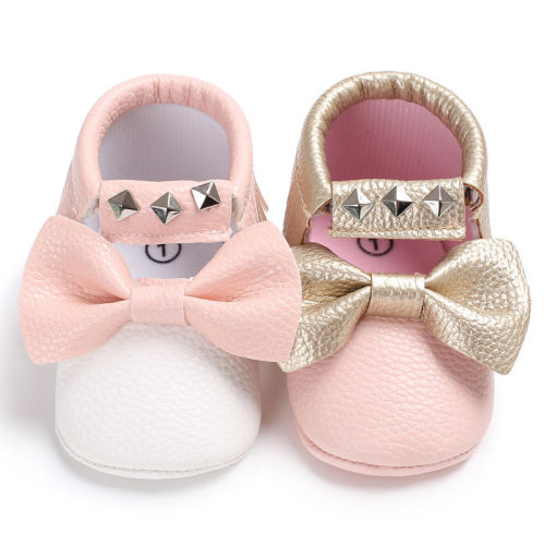 Infant Baby Girl Bow Soft Sole Shoes Toddler White PU Leather Crib Shoes Tassels Anti Slip Prewalker 0-18M