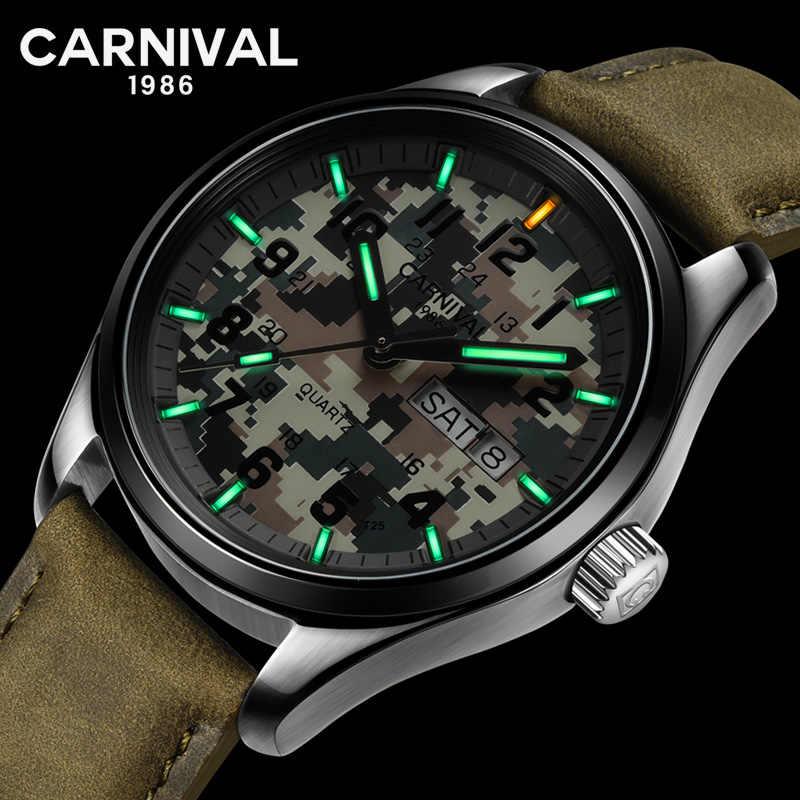 Karnaval T25 Tritium Gas Luminous QUARTZ Pria Olahraga Kamuflase Pria Jam Tangan Atas Merek Mewah Pria Clock Relogio Masculino