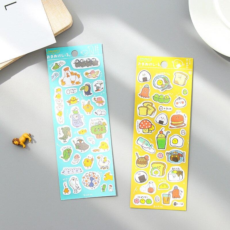 Kawaii Korea Stationery Lovely Cartoon Breakfast Transparent Sticker Chick Egg Bread Milk Diary Decoration Stickers Kids Gift