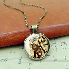Retro Punk necklace women Cat Glass Cabochon Alloy Chain Pendant Necklace Jewellery Gift Health(China)