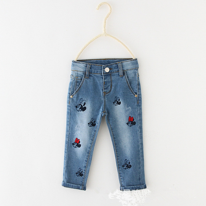 Spring Baby Clothing Minnie Baby Boys Girls Jeans Pants Kids Casual Pants Toddler Newborn Elastic Pants 6-36 Month Bebe