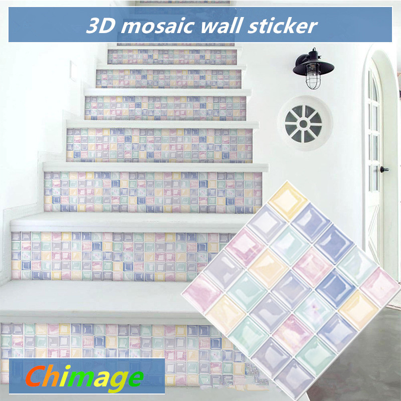 Self Adhesive 3D Mosaic Tile Wall Sticker DIY Kitchen Bathroom Backsplash Home Decor Foil Wallpaper