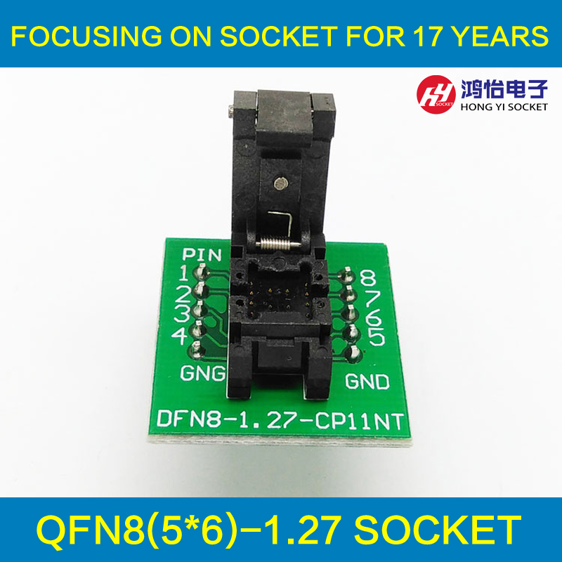 QFN8 DFN8 WSON8 Programming Socket Pogo Pin IC Test Adapter QFN8-1.27-CPO1PNL Pitch 1.27mm Clamshell Size 5*6 Burn in Socket qfn 0808 01 adapter qfn8 d8 wson8 dip8 programming adapter dfn5x6a 8 test socket