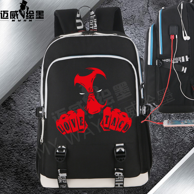 34f79a6d2cd3 Marvel Deadpool Backpack men Animation Film Deadpool with USB Charging  Leisure Travel Bag women school bag