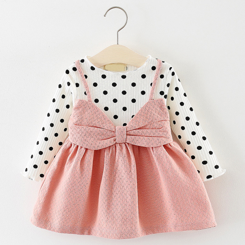 Dot Princess Baby Girl Dress Party Birthday Dress 2019 Spring Baby Girls Clothing Suits Knitted Shirts Strap Ruffle Dresses