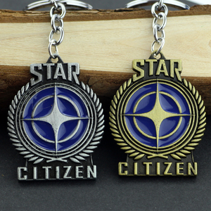 3D Stars Wars Game Star Citizen Alloy Pendent Keychain High Quality Enamel Logo Bronze Metal Keyring Fashion Car Gift For Fans(China)