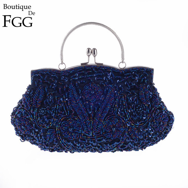 Royal Blue Sequined Beaded Women Frame Flower Beading Evening Clutch Bag Bridal Wedding Party Chain Shoulder Handbags and Purses
