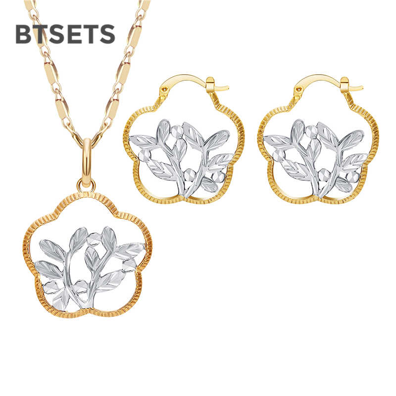 BTSETS Turkish Ethiopian Jewelry Sets For Women Ethnic African Beads Jewelry Set Gold Color Plant Indian Nigerian Jewellery Set