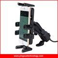 Универсальный Мотоцикл Зеркало Заднего вида Крепления Зажима Держатель Сотового Телефона с Двойной Водонепроницаемый USB Зарядное Устройство для Смарт-Телефон