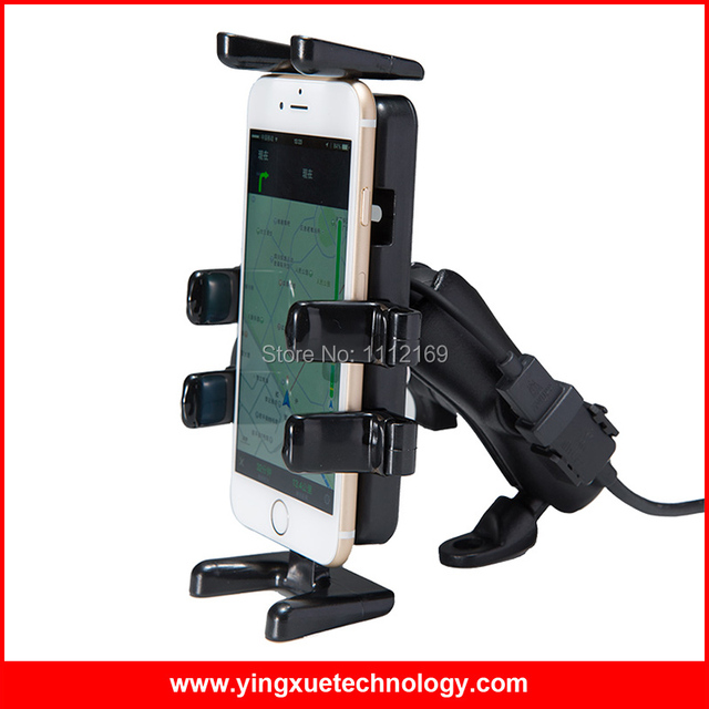 Universal Motorcycle Rear View Mirror Mount F Grip Cell Phone Holder with Dual Waterproof USB Charger for Smart Phone
