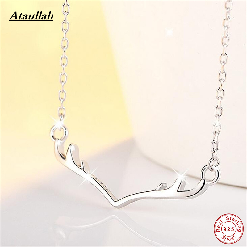 New design sterling silver 925 necklace deer antler for Sterling silver christmas jewelry