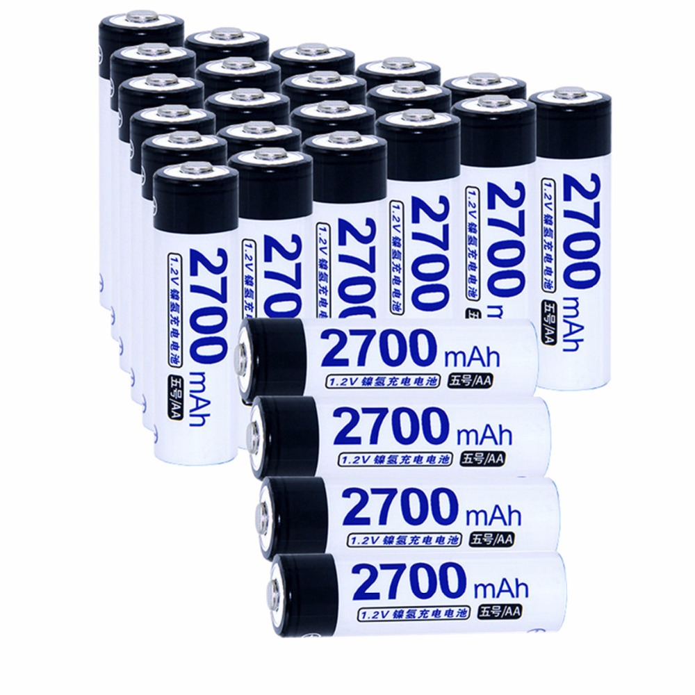 25 pcs AA portable 1.2V NIMH AA rechargeable batteries 2700mah for camera razor toy remote control flashlight 2A batterie