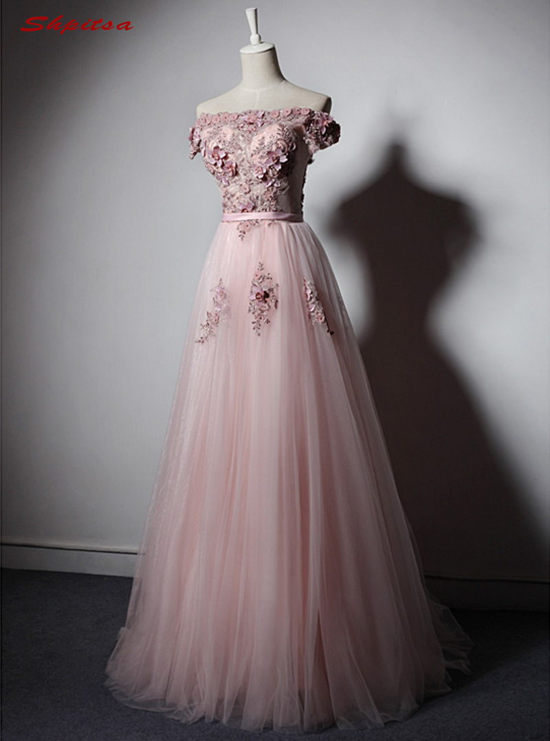 Pink Long Lace Evening Dresses Party A Line Beautiful Women Prom ...