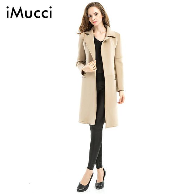 2016 Outono Inverno Novo Casaco de lã Longo Mulheres Trench Coat Casaco Completa Turn-Down Collar Ponto Aberto Wide-cintura Casacos das Mulheres casuais