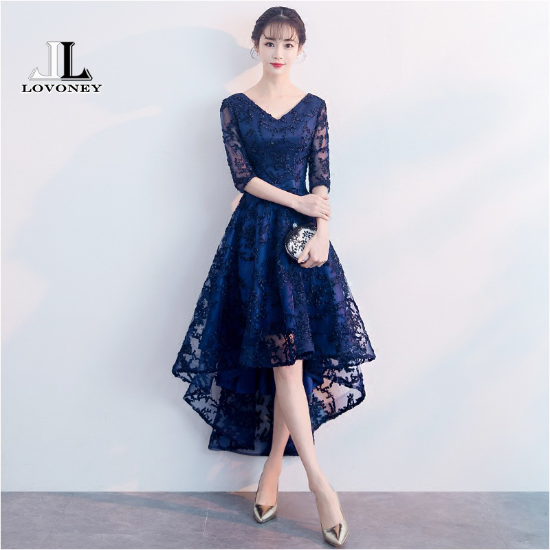 LOVONEY CS101 A Line V Neck High Low Short Prom Dresses 2018 Lace Up Back Adjustable Prom Gown Party Dresses Vestido De Festa