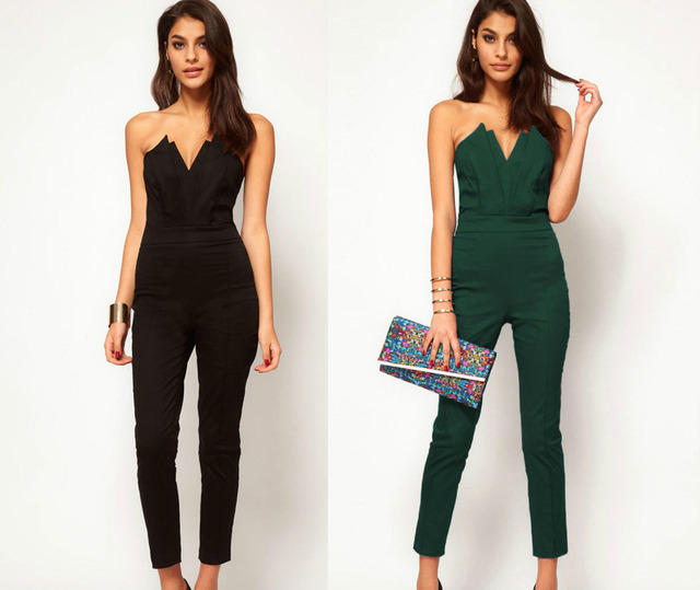 Sexy Women Jumpsuits Strapless Off the Shoulder Backless Black Summer Women Bodysuits Slim V neck Solid Green Rompers for Women
