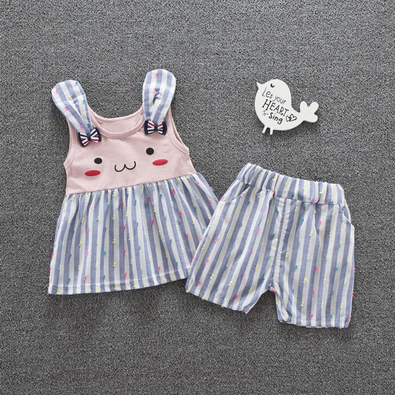 Summer Girls Baby s Sets Cartoon Cute Rabbit Ear Sleeveless Vest Tank Tops Casual Striped Shorts