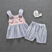 Summer Girls Baby's Sets Cartoon Cute Rabbit Ear Sleeveless Vest Tank Tops + Casual Striped Shorts Infant Kids 2Pcs Suits
