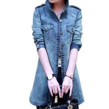 Spring And Autumn New Fashion Denim Trench Coat Long Sleeved Slim Casacos Femininos Casual Trench Coat Feminino Plus Size S-4XL