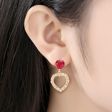 Trendy Heart Earrings For Women Girls Shaped Pendant Luxury Cubic Zircon Jewelry Gift