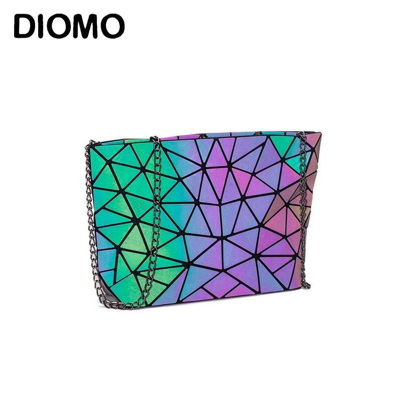 DIOMO Cadeia Saco Saco Do Mensageiro das Mulheres 2019 Moda Luminosa Geométrica Sling Bag Sac Femme Alça de Ombro Feminino Bolsas Feminina