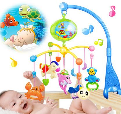 Newborn Baby Toy  Baby Rattle Mobility Projecting Rotating Mobile Musical Bed Bell With 100  Music  For 0-12 Months