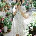 2016 primavera fresca rústica flores impresión de algodón arco de manga corta vestido de niña mori