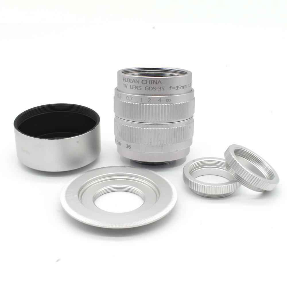 Prix pour Fujian 35mm f/1.7 cctv c micro-caméra lentille + micro m4/3 adaptateur + capot pour panasonic micro 4/3 e-p1 p3 g1 gf5 macro livraison gratuite