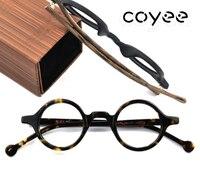 Coyee Handmade Acetate Deluxe Vintage Retro Small Round Eyeglass Frames Women Men Leopard Glasses RX Able