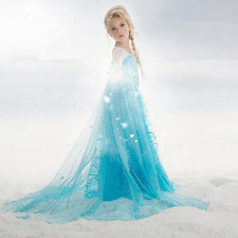 70c0a8dc1 MUABABY Girls Elsa Costume Blue Snow Queen Princess Dress up with ...