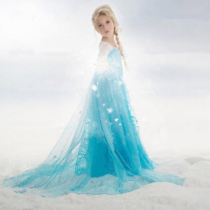 2017 New Summer Elsa Anna Girl Dress for 3-10 yrs Children Elsa Anna Princess Dresses Kids Party Cosplay Costume Girls clothes