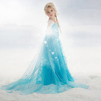 2016 New Summer Elsa Anna Girl Dress For 3 10 Yrs Children Elsa Anna Princess Dresses