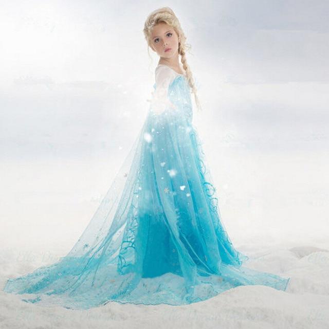 2017 Neue Sommer Elsa Anna Madchen Kleid Fur 3 10 Jahre Kinder Elsa