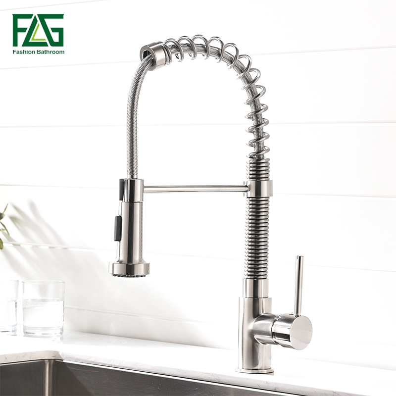 FLG Spring Style Kitchen Faucet Brushed Nickel Faucets Pull Down Kitchen Tap Rotate Swivel 2 Function