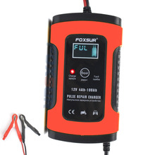 Caricabatterie per auto e moto FOXSUR 12V, caricabatterie automatico per auto e moto, Display LCD per caricabatterie per riparazione impulsi 12AH 36Ah 45AH 60AH 100AH