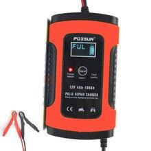 FOXSUR cargador de batería inteligente automático, 12V, para coche y motocicleta, 12AH, 36Ah, 45AH, 60AH, 100AH, pantalla LCD